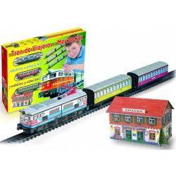Trenulet electric calatori cu far si macheta colorat - Pequetren