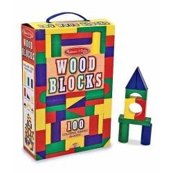 Cuburi din lemn colorate Melissa and Doug 100 piese