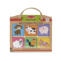 Primul meu puzzle eco din lemn Prieteni de la Ferma - Melissa and Doug