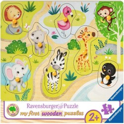 Puzzle din lemn animale Zoo - 8 piese