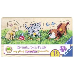 Puzzle din lemn animalute 3 piese