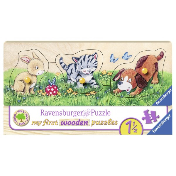Puzzle din lemn animalute 3 piese