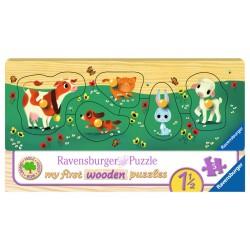 Puzzle din lemn cu animale - 5 piese