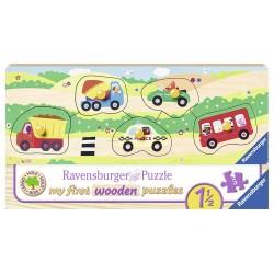 Puzzle din lemn cu vehicule - 5 piese