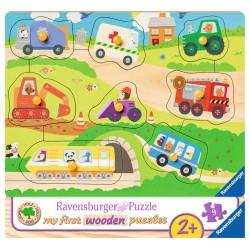 Puzzle din lemn cu vehicule - 8 piese