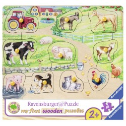 Puzzle din lemn ferma 10 piese