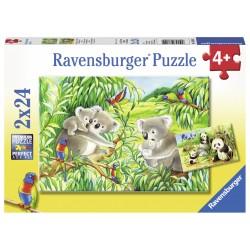 Puzzle Koala si Panda - 2x24 piese