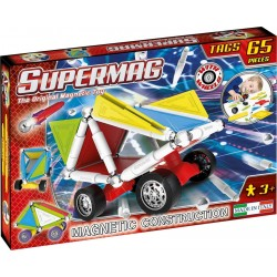 Set constructie Supermag Tags Wheels 65 piese