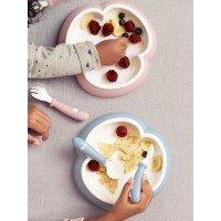 2 Seturi hranire cu farfurie, lingurita si furculita pentru bebe Powder Blue BabyBjorn