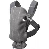 Marsupiu anatomic BabyBjorn Mini cu pozitii multiple de purtare Dark Grey 3D Jersey