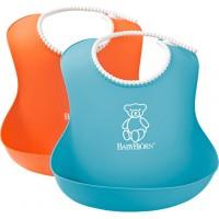 Set 2 bavete Soft Bib Orange/Turquoise BabyBjorn