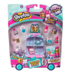 Set 8 figurine Purple Shopkins - Mini dulciuri asortate si carucior