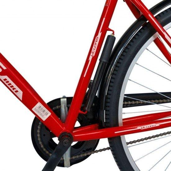 Bicicleta City 28 Inch cu frane mecanice V-Brake Velors CSV28/93A, cadru rosu cu design alb