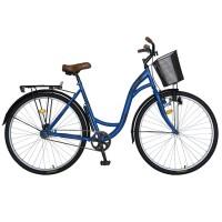 Bicicleta City 28 Inch cu frane V-Brake, pompa, far cu Dinam Velors CSV28/94F, cadru albastru cu design negru