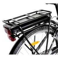 """Bicicleta electrica City E-Bike Carpat C1010E, roata 28"""", cadru aluminiu, frane V-Brake, transmisie Shimano 7 viteze, culoare negru/alb"""