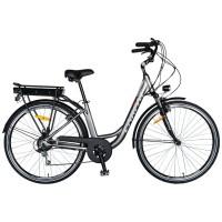 """Bicicleta electrica City E-Bike Carpat C1010E, roata 28"""", cadru aluminiu, frane V-Brake, transmisie Shimano 7 viteze, culoare gri/alb"""