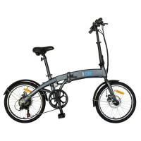 Bicicleta electrica E-Bike pliabila I-ON I1004E 20 inch,  cadru aluminiu, frane mecanice disc, echipare Shimano, 6 viteze, culoare gri/albastru