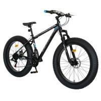Bicicleta MTB-Fat Bike, schimbator Shimano Tourney 21 Viteze, roti 26 inch, frane mecanice disc, Velors CSV26/19B, cadru negru cu design albastru/gri