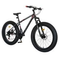 Bicicleta MTB-Fat Bike, schimbator Shimano Tourney 21 viteze, roti 26 inch, frane mecanice disc, Velors CSV26/19B, cadru gri cu design rosu