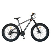 Bicicleta MTB-Fat Bike Shimano Revoshift Tourney 21 viteze, roti 26 inch, frane mecanice disc, Velors CSV26/19B, cadru gri cu design portocaliu