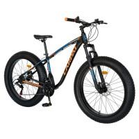 Bicicleta MTB-Fat Bike, Shimano SL-TX30 21 viteze, cadru aluminiu 6061, roti 26 inch, frane hidraulice, Carpat Aventus CSC26/00H, negru cu design portocaliu/albastru