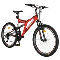 Bicicleta MTB-FS, Saiguan Revoshift 18 viteze, roti 24 inch, frane V-Brake, RICH CSR24/49A, cadru rosu cu design negru