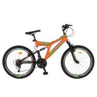 Bicicleta MTB-FS Saiguan Revoshift 18 Viteze, roti 26 Inch, frane V-Brake, Rich CSR26/49A, cadru portocaliu cu design negru