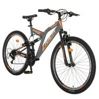 Bicicleta MTB-FS, Saiguan Revoshift 18 viteze, roti 26 inch, frane V-Brake, RICH CSR26/49A, cadru gri cu design portocaliu