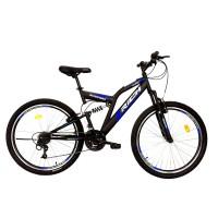 Bicicleta MTB-FS, Saiguan Revoshift 18 Viteze, Roti 26 Inch, Frane V-Brake, RICH CSR26/49A, Cadru Negru cu Design Albastru