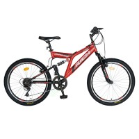 Bicicleta copii MTB-FS, Saiguan Revoshift 6 Viteze, roti 20 Inch, frane V-Brake RichCSR20/49A, cadru rosu cu design negru