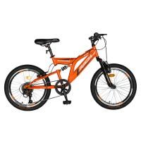 Bicicleta copii MTB-FS Saiguan Revoshift 6 Viteze, roti 20 Inch, frane V-Brake Rich CSR20/49A, cadru portocaliu cu design negru