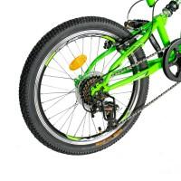 Bicicleta copii MTB-FS, Saiguan Revoshift 6 Viteze, roti 20 Inch, frane V-Brake Rich CSR20/49A, cadru verde cu design negru