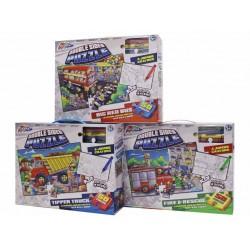 Puzzle de podea - Asambleaza si coloreaza - Autobuzul (50 piese)