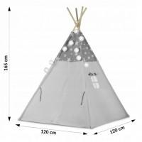 Cort de joaca pentru copii cu ghirlanda si lumini Ricokids 120 x 120 x 165 cm - Gri cu stelute