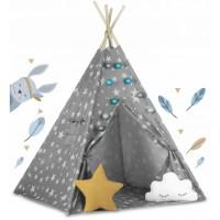 Cort de joaca pentru copii cu lumini Ricokids 120 x 120 x 165 cm - Gri cu stelute