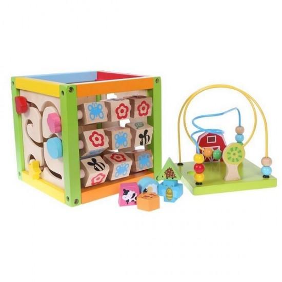 Cub educational din lemn 1004P Ecotoys
