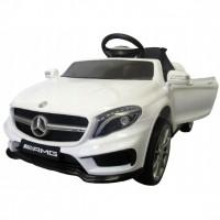 Masinuta electrica cu telecomanda, roti EVA, scaun piele Mercedes GLA45 - Alb