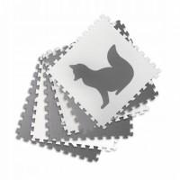 Covoras de joaca 180 x 120 cm cu animalute 6 bucati Ricokids 7490 - Gri