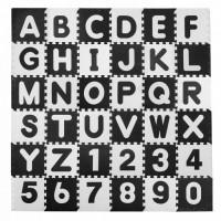 Covoras de joaca 180 x 180 cm cu litere si cifre Ricokids 7493 - Alb - Negru