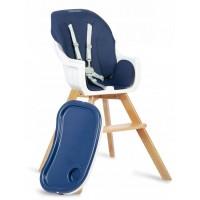 Scaun de masa 3 in 1 cu picioare din lemn 63 x 58 x 90 cm, Ricokids Lilo 700201 - Bleumarin