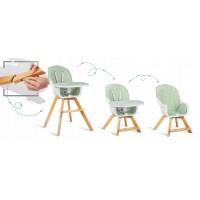 Scaun de masa 3 in 1 cu picioare din lemn 63 x 58 x 90 cm Ricokids Lilo 700202 - Verde