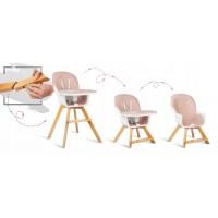 Scaun de masa 3 in 1 cu picioare din lemn 63 x 58 x 90 cm Ricokids Lilo 700203 - Roz