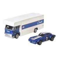 Camion Hot Wheels Mattel Car Culture Coupe Fleet Flyer cu masina Custom Corvette