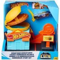 Pista de masini Hot Wheels City Downtown Burger Dash cu masinuta