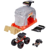 Pista de masini Hot Wheels Mattel Monster Truck Bone Shaker cu 2 masinute