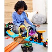 Pista de masini Hot Wheels Mattel Monster Truck Pit and Launch Team Mega Wrex cu 2 masinute