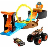 Pista de masini Hot Wheels Mattel Monster Truck Stunt Tire cu 2 masinute