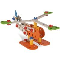 Set constructie din lemn Eichhorn Constructor Biplane 85 piese
