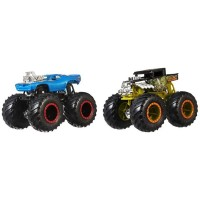 Set Hot Wheels by Mattel Monster Trucks Demolition Doubles Bone Shaker vs Rodger Dodger