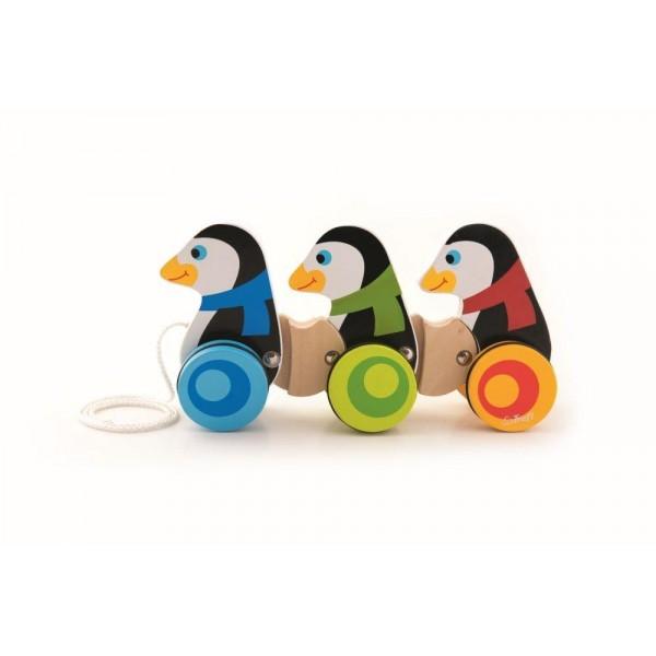 Jucarie de tras pinguini din lemn